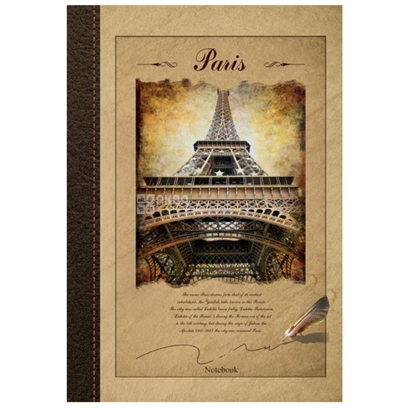 Ранок, Париж, 96 листов, Блокнот недатированный А4, клетка, коричневый