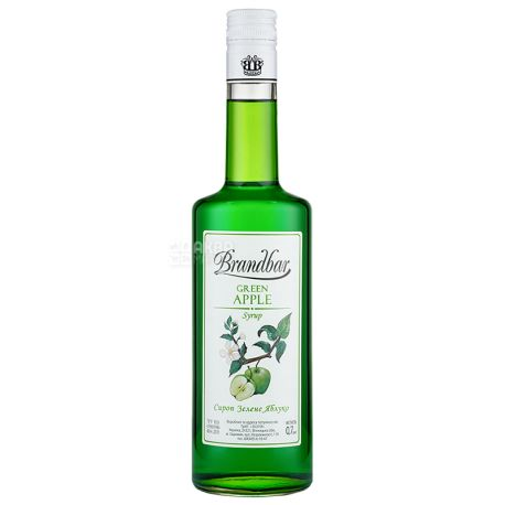 Brandbar, Green Apple, 0,7 л, Cироп Брендбар, Зеленое Яблоко, стекло