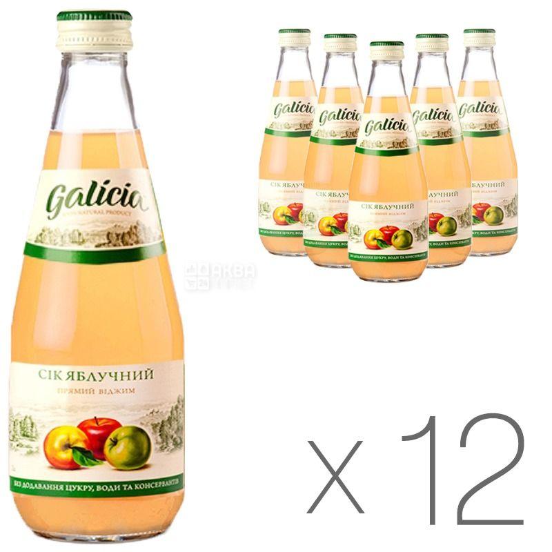 Galicia, Яблучний, Упаковка 12 шт. по 0,3 л, Галіція, Сік натуральний, без додавання цукру, скло