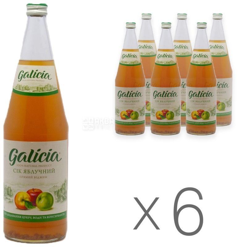 Galicia, Яблучний, Упаковка 6 шт. по 1 л, Галіція, Сік натуральний, без додавання цукру, скло