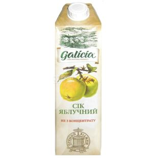 Galicia, Яблочный, Упаковка 12 шт. по 1 л, Галиция, Сок, натуральный, без добавления сахара