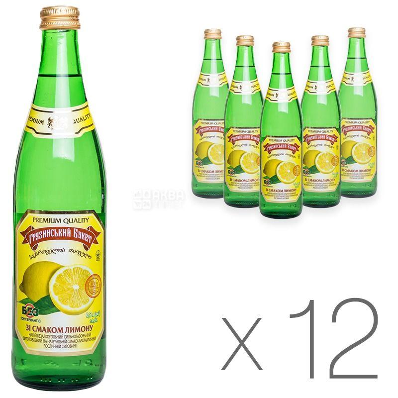 Грузинский Букет, Лимон, 0,5 л, Упаковка 12 шт., Напиток сильногазированный, стекло
