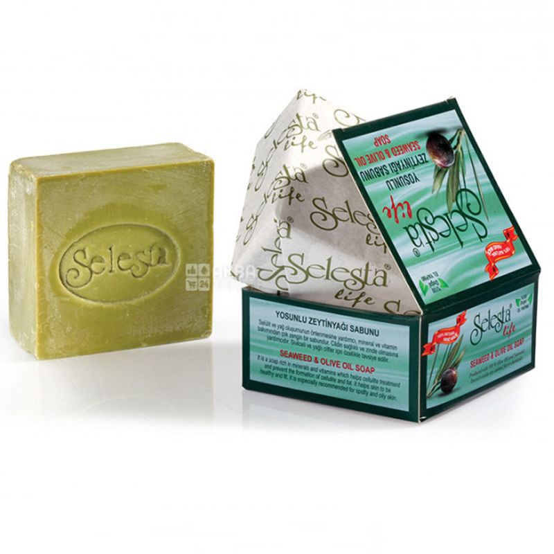 Selesta, Мыло оливковое с морскими водорослями, 170 г, картонная коробка