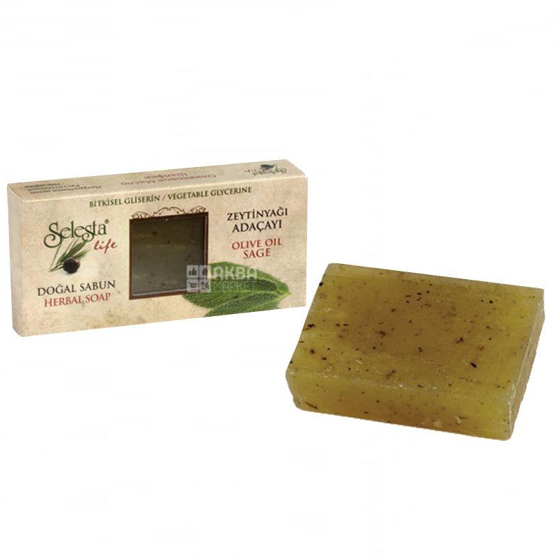 Selesta, Мыло природный глицерин, оливковое масло и шалфей, 100 г, Обертка