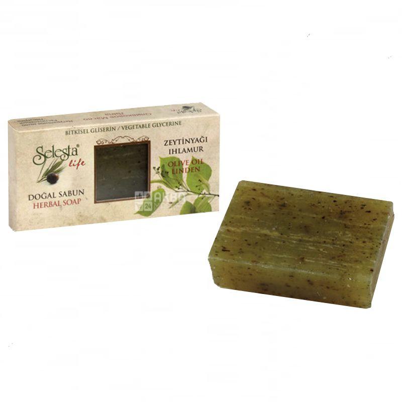 Selesta, Мило природний гліцерин, оливкова олія і липа, 100 г, Обгортка