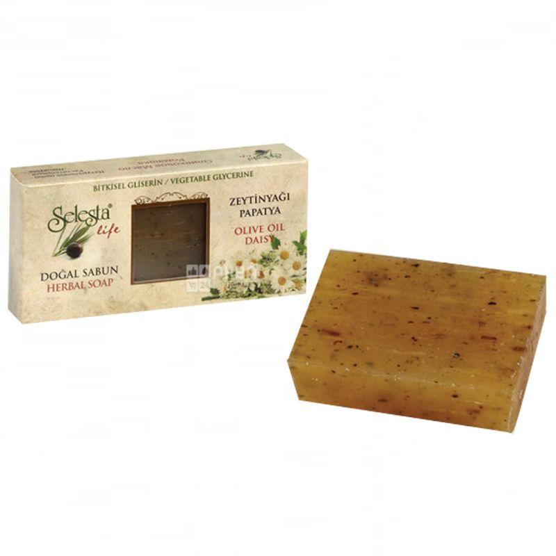 Мыло Selesta, природный глицерин, оливковое масло и ромашка 100 г, Обертка