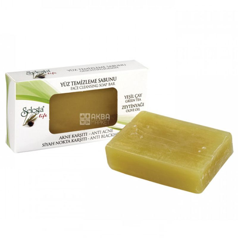 Selesta, Facial cleansing soap Against acne and black dots, 100g, paper packaging