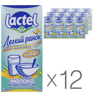 Lactel, Low-lactose milk 1.5%, 1 l, Packaging 12 pcs.