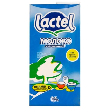 Lactel, Упаковка 12 шт. по 1 л, Молоко ультрапастеризованное, с витамином D, 0,5%