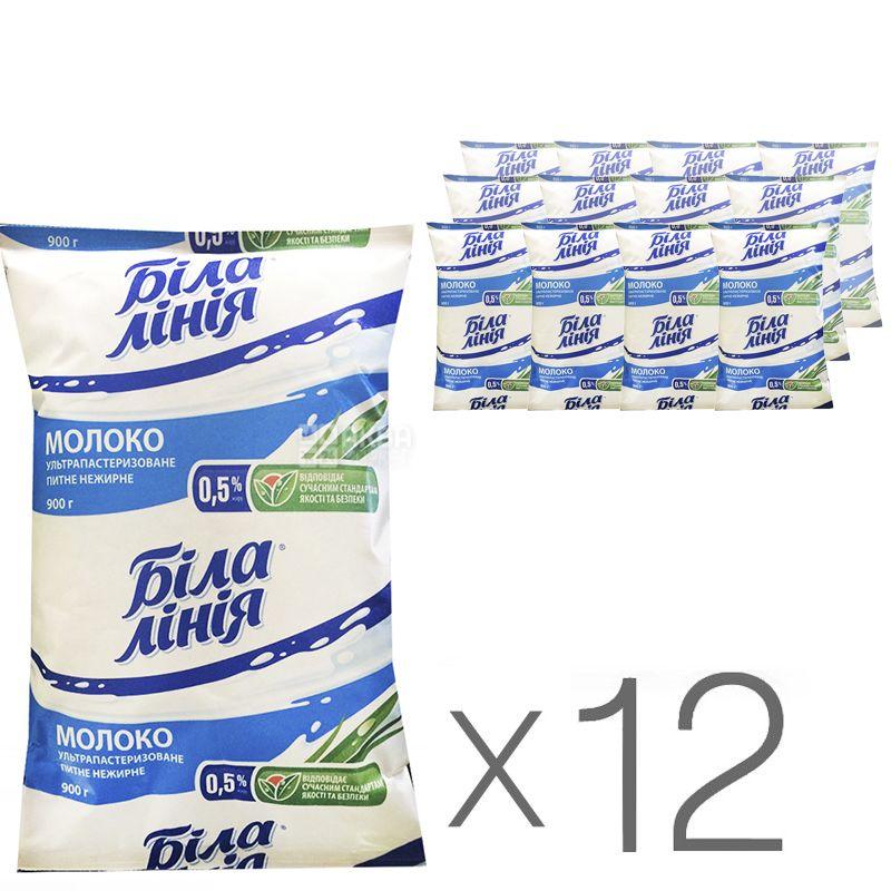 Біла Лінія, Молоко ультрапастеризоване, 0,5%, 900 г, м/у, Упаковка 12 шт.