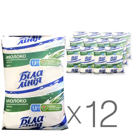 Біла Лінія, Молоко ультрапастеризоване, 1,5%, 900 г, м/у, Упаковка 12 шт.