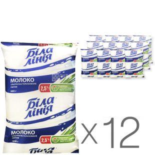 Біла Лінія, Молоко ультрапастеризоване, 2,5%, 900 г, м/у, Упаковка 12 шт.