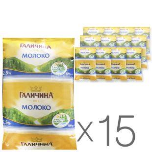 Галичина, Молоко ультрапастеризоване 2,5%, 900 г, м/у, Упаковка 15 шт.