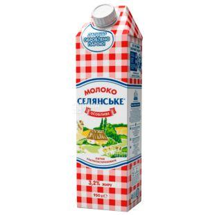 Селянське Особливе, Молоко ультрапастеризоване, 3,2%, 950 г, Упаковка 12 шт.