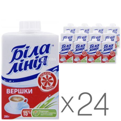 Біла Лінія, Упаковка 24 шт. х 0,2 л, Вершки ультрапастеризовані, 15%