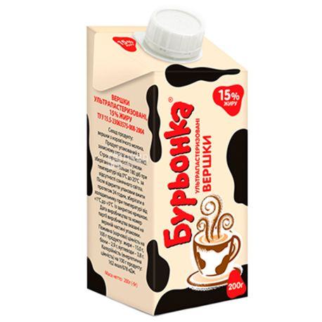 Burenka, Cream 15%, 0.2 l, Packaging 24 pcs.