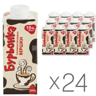Burenka, Cream 15%, 0.2 l, Packaging 24 pcs.