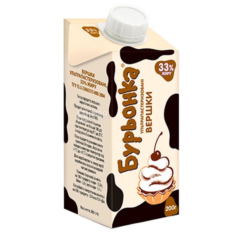 Burenka, Cream 33%, 0.2 l, Packaging 24 pcs.
