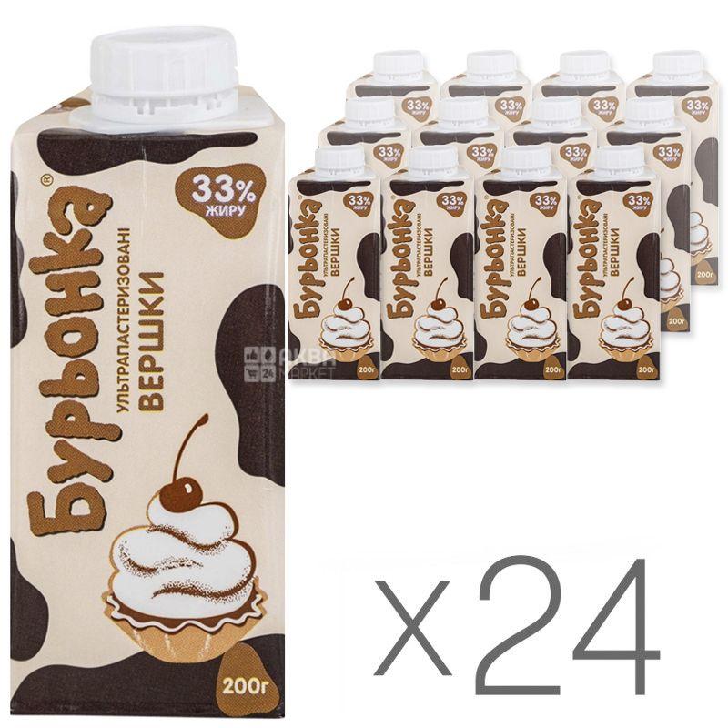 Буренка, 0,2 л, упаковка 24 шт., Вершки рідкі ультрапастеризовані, 33%