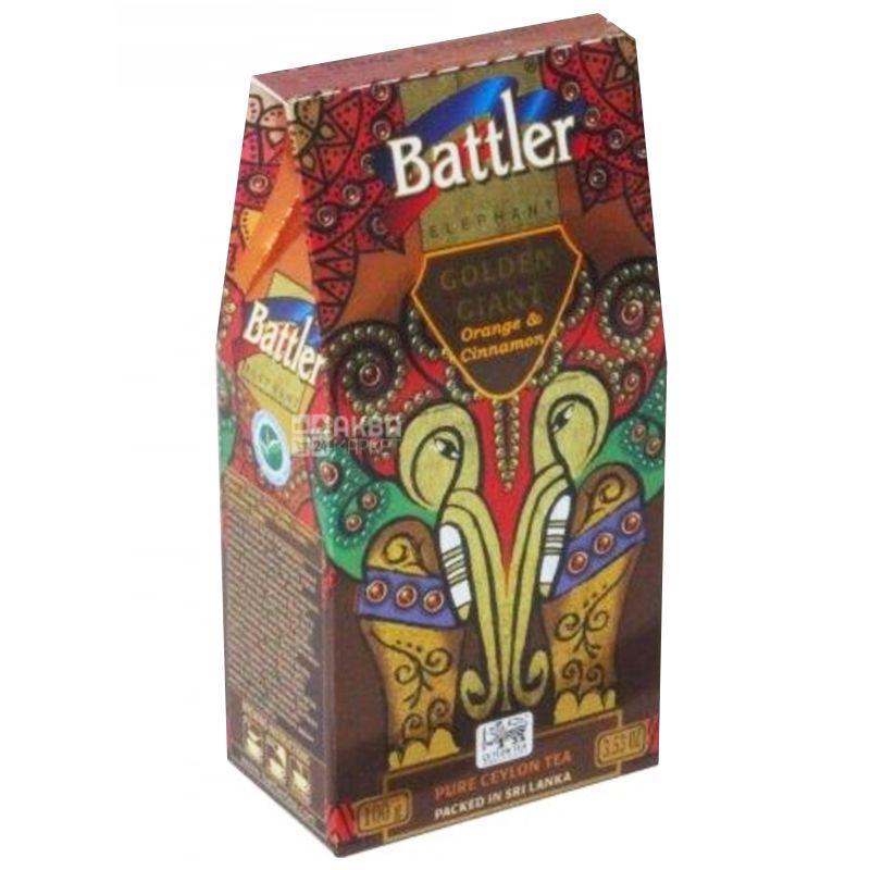 Battler Golden Giant Апельсин и корица, Чай черный, 100г, картонная упаковка