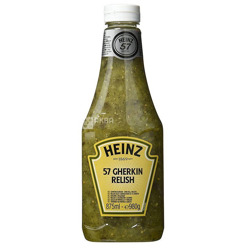 Heinz, Соус релиш с огурцом, 875 мл, пластиковая бутылка