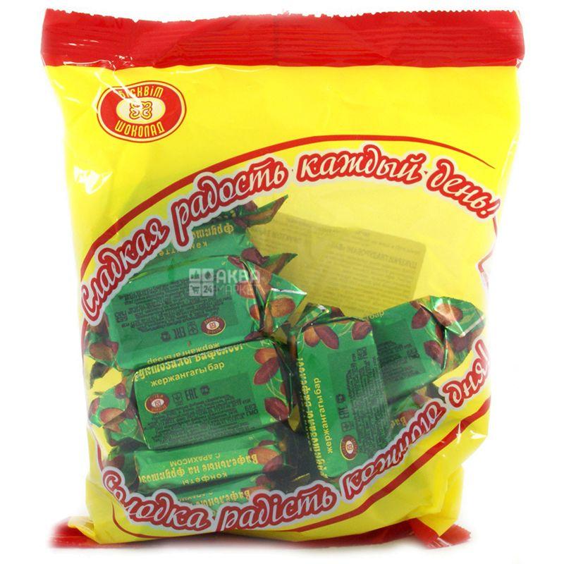 Бисквит-шоколад, Конфеты вафельные с арахисом на фруктозе, 200 г, пакет