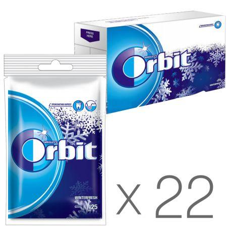 Orbit Winterfresh, 35 г, Упаковка 22 шт., Жевательная резинка с ментолом, Орбит Винтерфреш