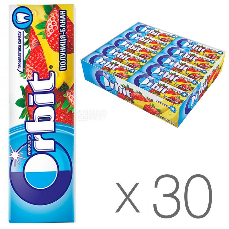Orbit, Жувальна гумка полуниця та банан, Упаковка 30 шт. по 14 г, картон