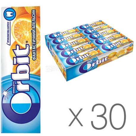Orbit, Жевательная резинка фантастический апельсин, Упаковка 30 шт. по 14 г, картон