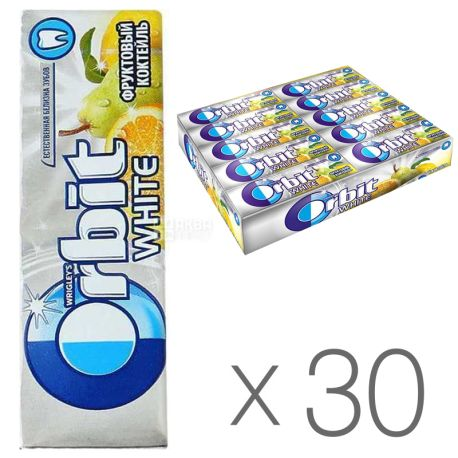 Orbit, Chewing gum fruit cocktail, Packaging 30 pcs. on 14 g, cardboard
