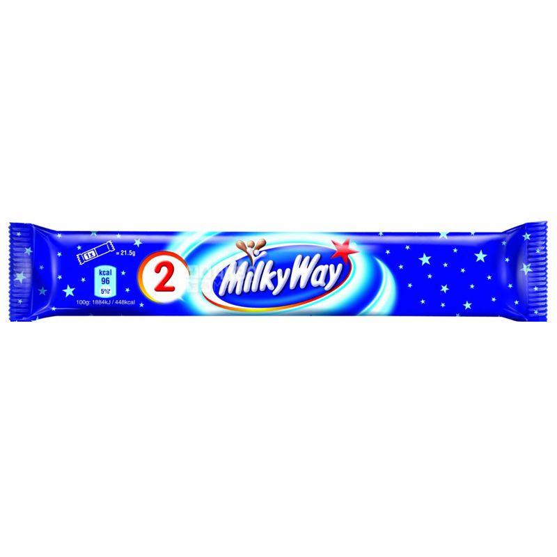 Milky Way, 43 г, упаковка 24 шт., Батончик з суфле, 1 + 1