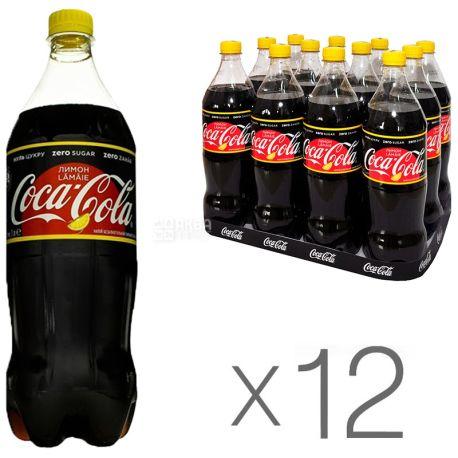 Coca-Cola Zero, Lemon, Упаковка 12 шт. по 1 л, Кока-Кола Зеро, Лимон, Вода сладкая, низкокалорийная, ПЭТ