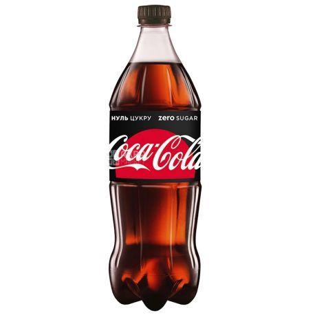 Coca-Cola Zero, Упаковка 12 шт. по 1 л, Кока-Кола Зеро, Вода сладкая, низкокалорийная, ПЭТ