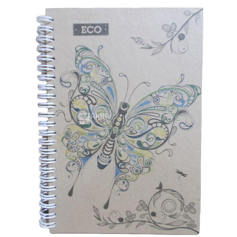 Ранок, 50 листов, Блокнот Бабочка Эко, на пружине, А5, клетка