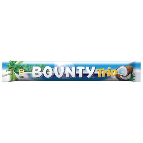 Bounty Trio, 85,5 г, упаковка 21 шт., Батончик шоколадний, Баунті Тріо