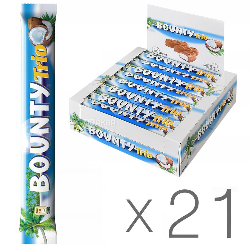 Bounty Trio, 85,5 г, упаковка 21 шт., Батончик шоколадный, Баунти Трио