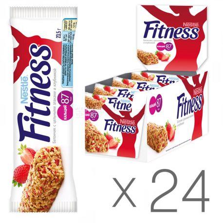 Батончик Nestle Fitness, з цільними злаками і полуницею 23.5г, упаковка 24шт