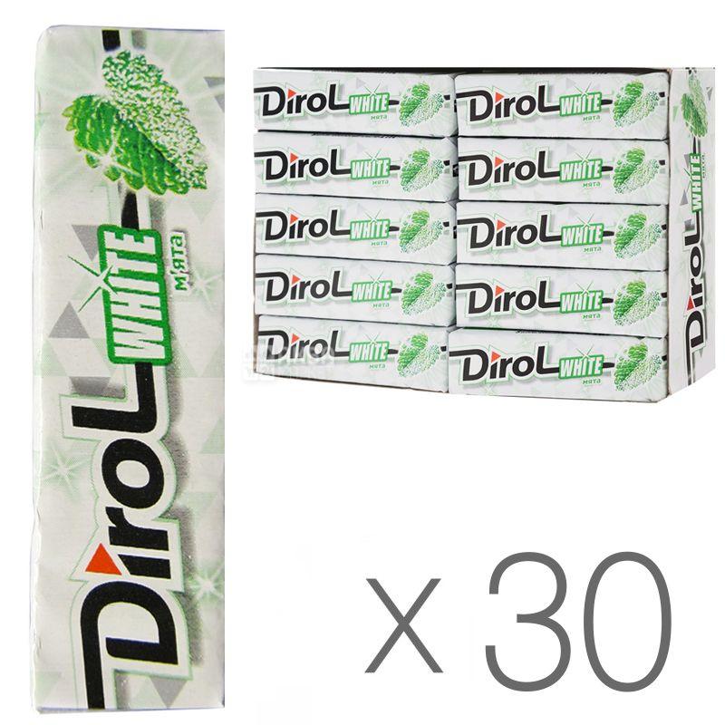 Dirol White М'ята, 14 г, упаковка 30 шт., Жувальна гумка, Дірол Вайт