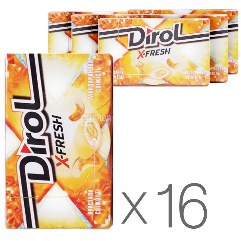 Dirol X-Fresh Мандарин, жевательная резинка, 18г, упаковка 16шт