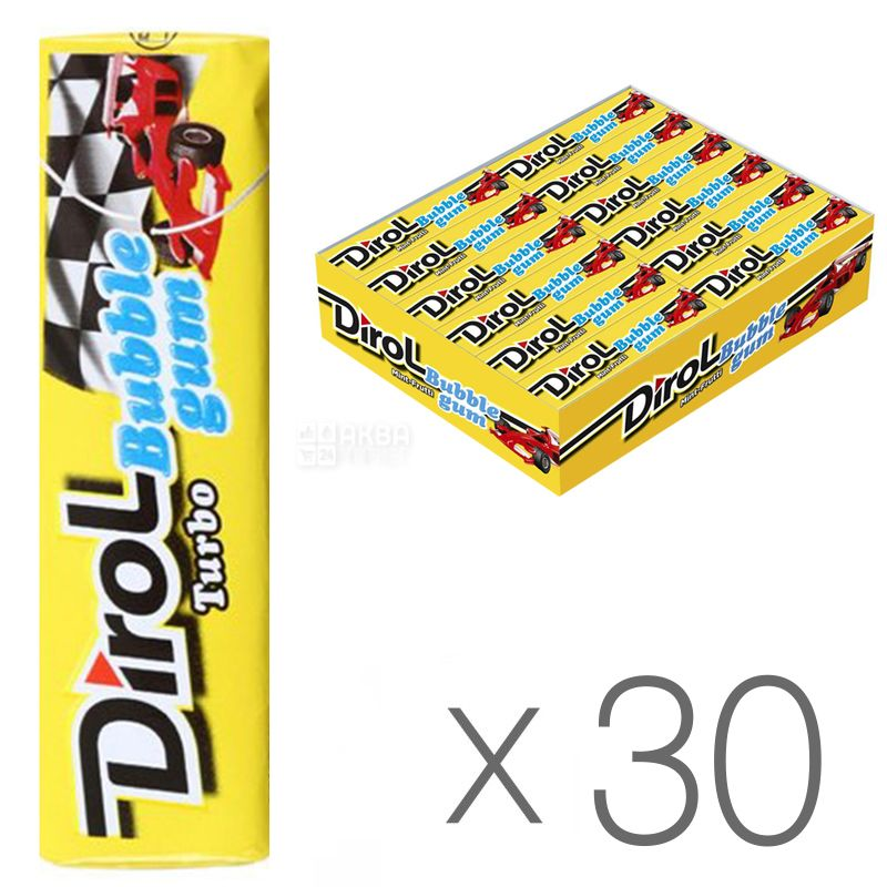 Dirol Bubble Gum Turbo, 14 г, упаковка 30шт., Жевательная резинка, Мята и фрукты