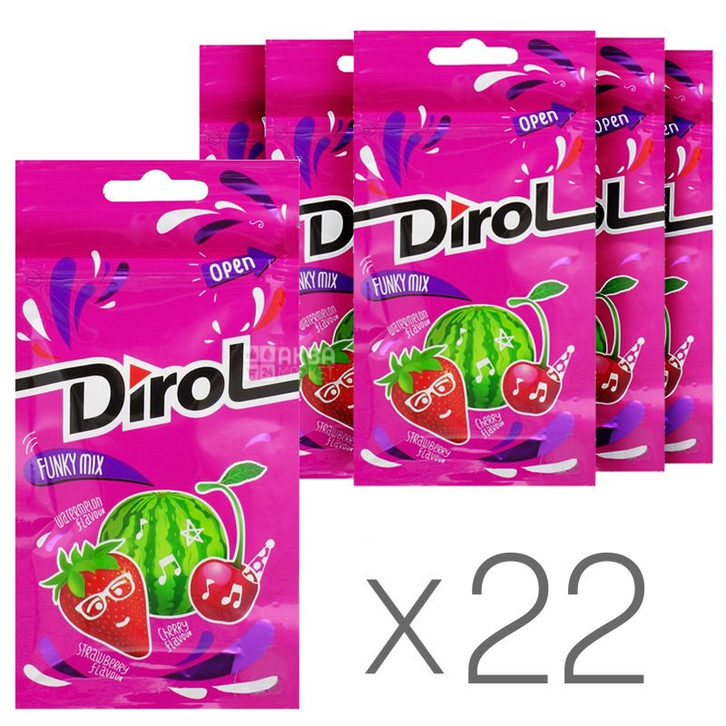 Dirol Funky Mix, 30 г, упаковка 22 шт., Жевательная резинка, Ассорти фруктово-ягодных вкусов