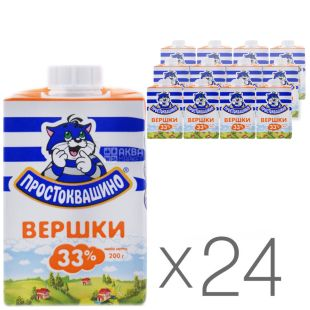 Простоквашино, Вершки 33%, 200 мл, Упаковка 24 шт.