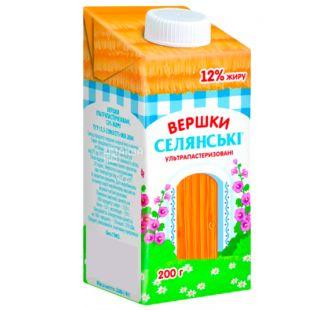 Селянські, Сливки 12%, 0,2 л, Упаковка 24 шт.