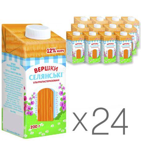 Селянські, Вершки 12%, 0,2 л, Упаковка 24 шт.