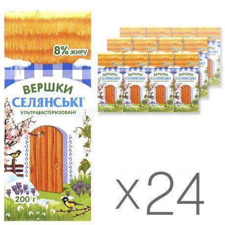 Селянські, Сливки 8%, 0,2 л, Упаковка 24 шт.