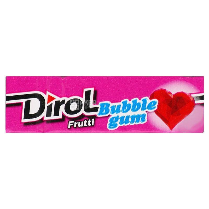 Dirol Bubble Gum Frutti, 14 г, упаковка 30 шт., Жевательная резинка, Фруктовая