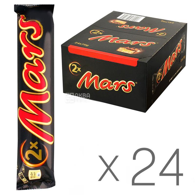 Mars Duo, 70 г, упаковка 24 шт., Батончик шоколадный, Марс Дуо