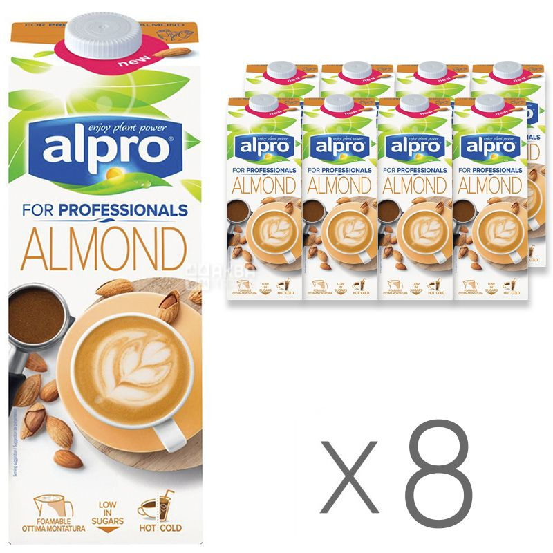 Alpro, Almond for Professionals, Упаковка 8 шт. по 1 л, Алпро, Профешнл, Мигдалеве молоко