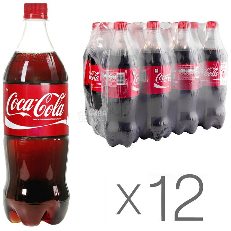Coca-Cola, Упаковка 12 шт. по 1 л, Кока-Кола, Вода солодка, ПЕТ