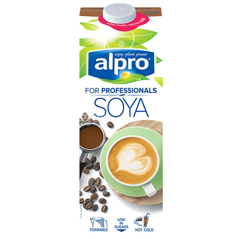 Alpro Soya For Professionals, Natural Professional Soymilk, Packing 12pcs, 1 l each